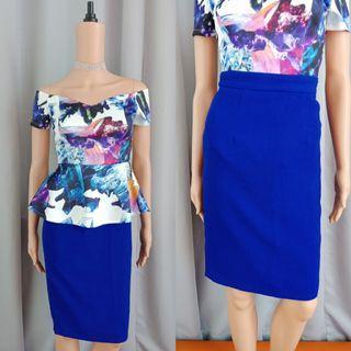 Formal Blue Pencil Skirt