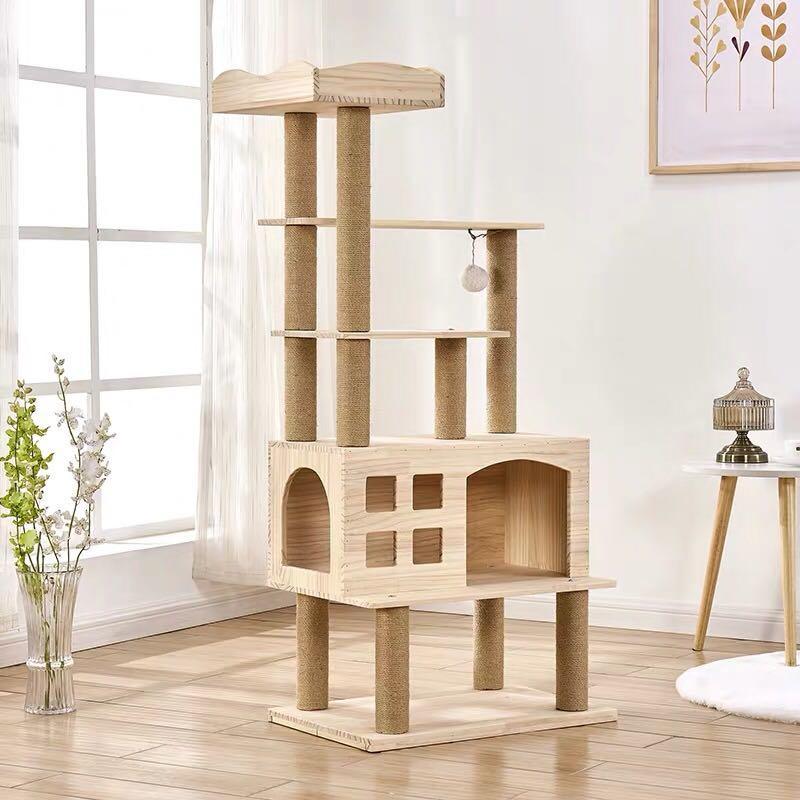 天然實木五層貓跳台貓屋貓架