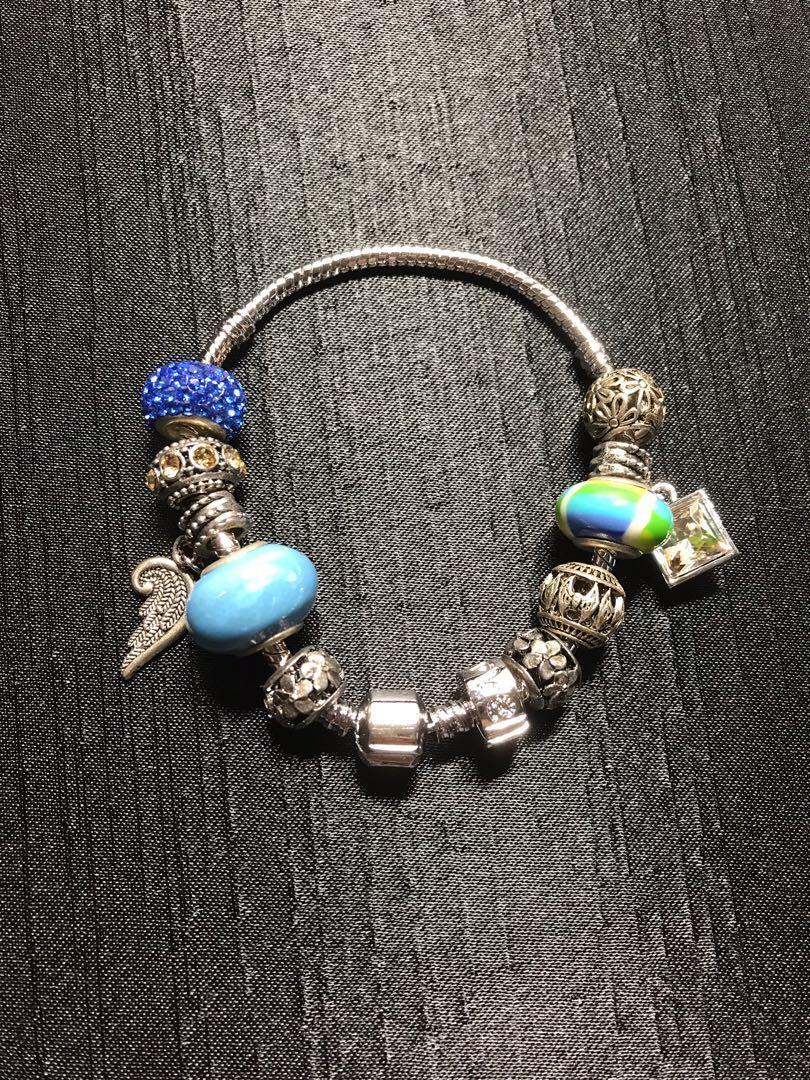 韓國🇰🇷潘朵拉款時尚流行手鍊(粉色、藍色)