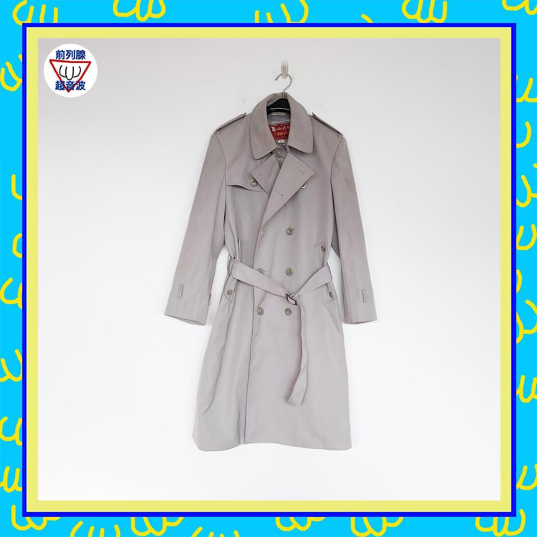 二手 灰色 高級時尚 男人味 腰帶 風衣 大衣 前列腺超音波 80915