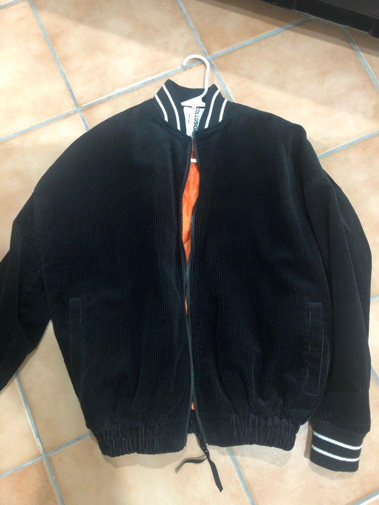Black oversize bomber jacket