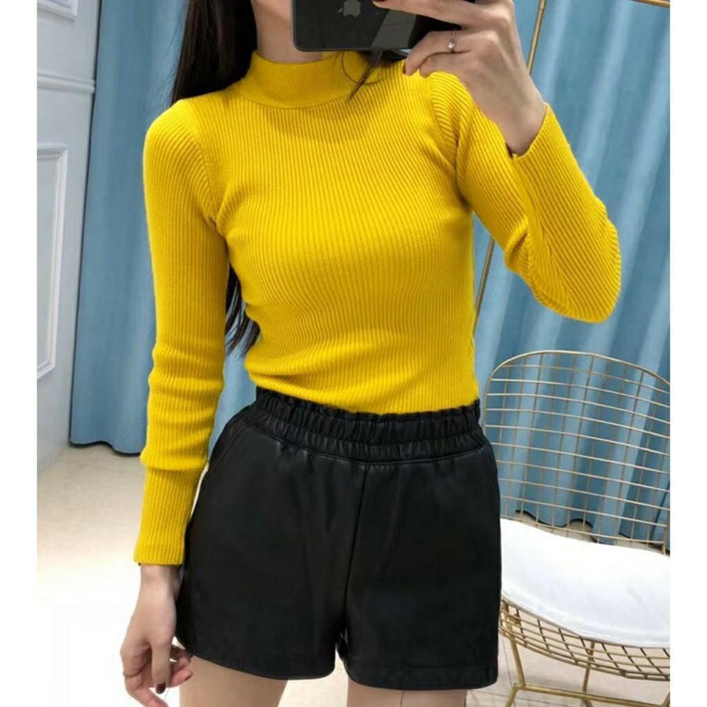 Blouse wanita Turtleneck Longsleeve Knit Top BL1300 blouse rajut blouse polos