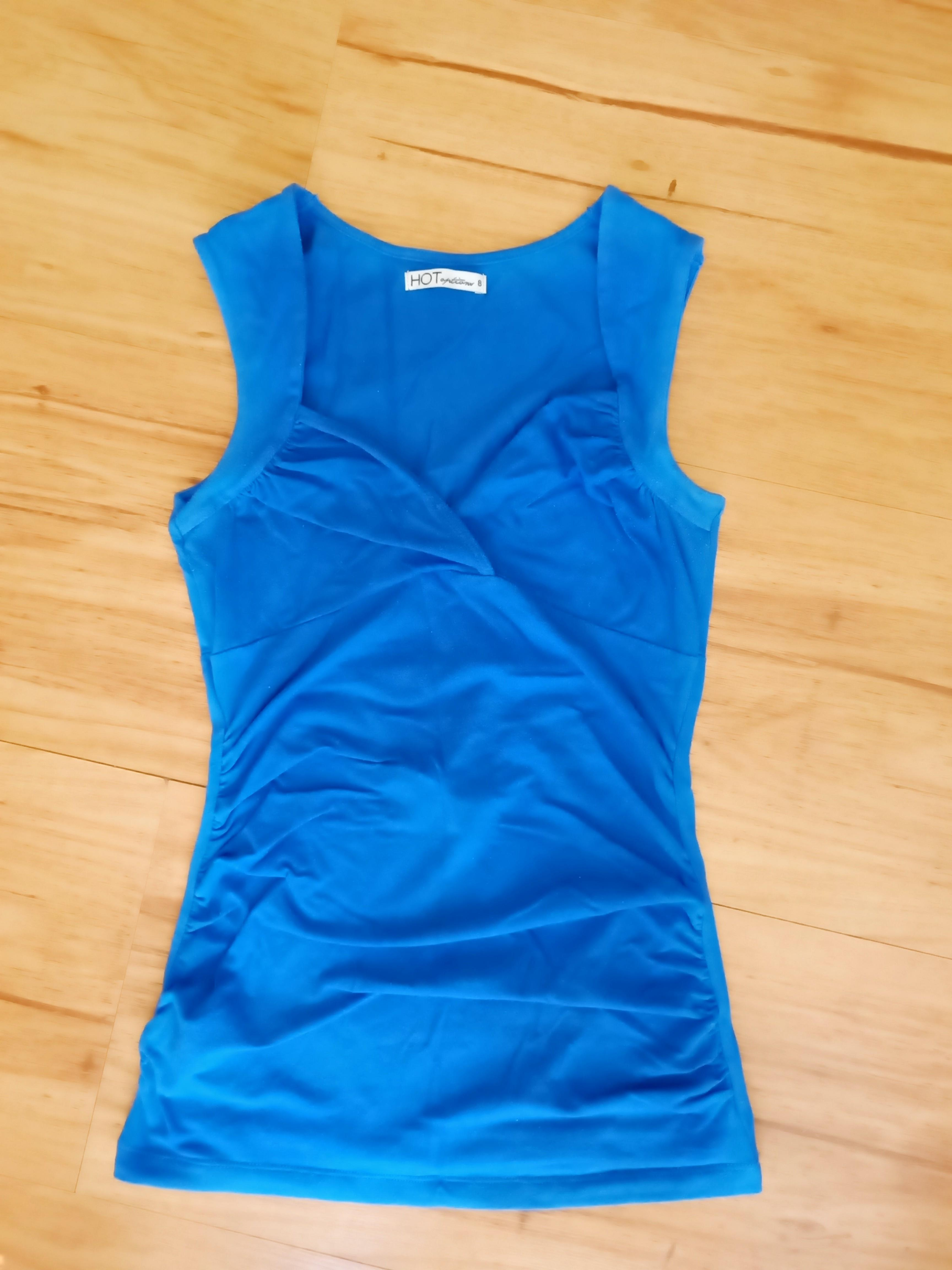 Blue Sweetheart Crossover Sleeveless Top - Size 8 Ruched Front