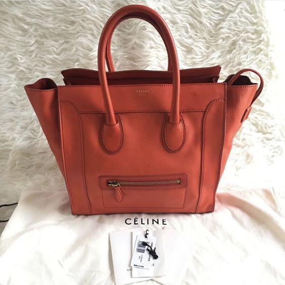 Celine luggage mini red authentic