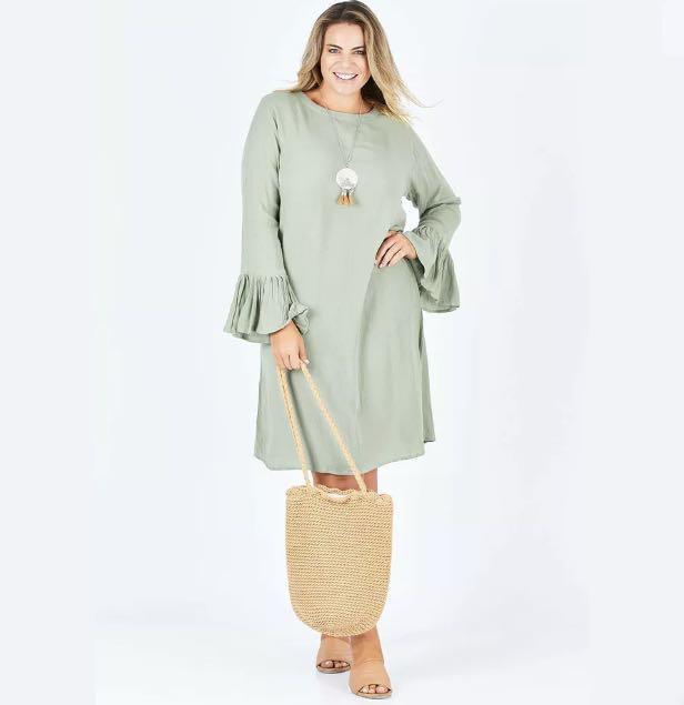 FREE Shipping New bird keepers Dress Bell Sleeve green khaki Shift Dress sz 8/10/12/14/16/18/20