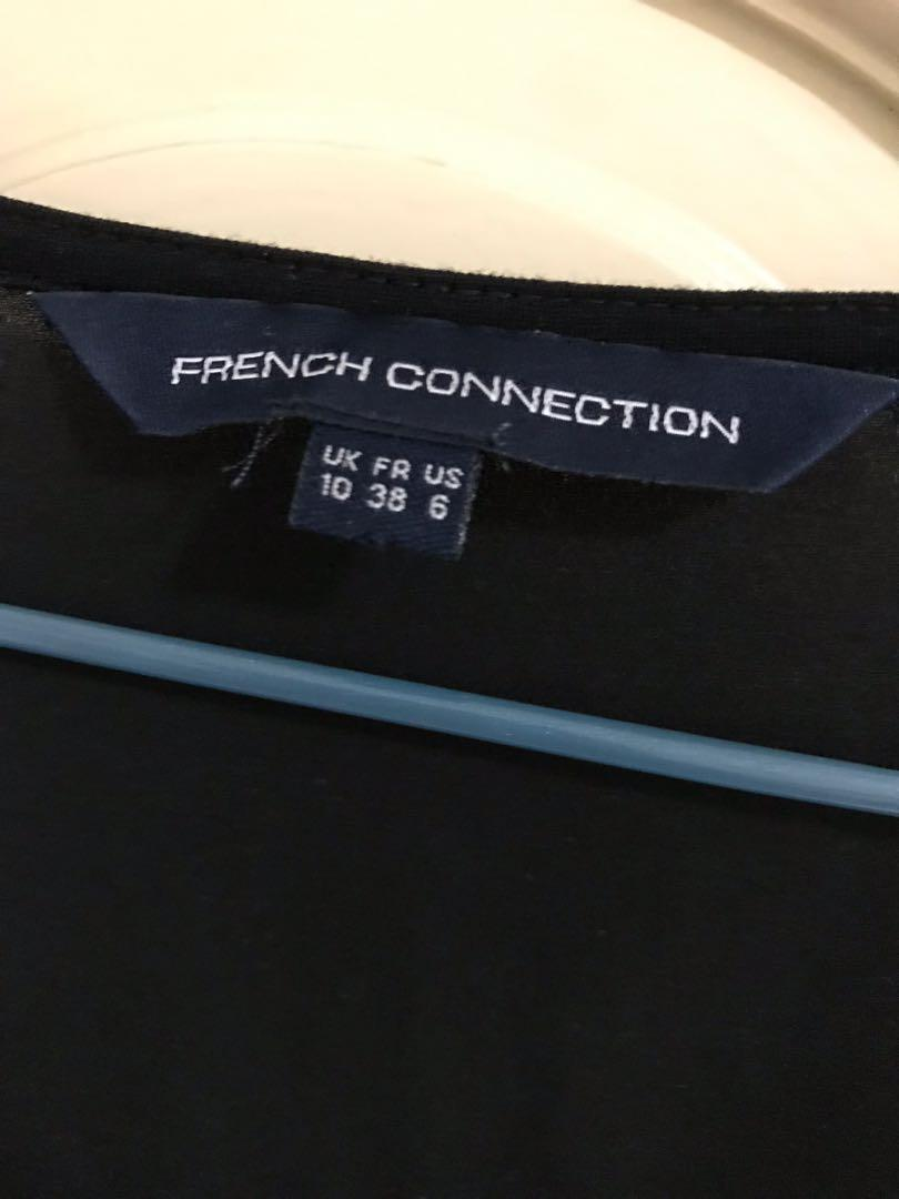 French Connection 黑色長袖碎花洋裝