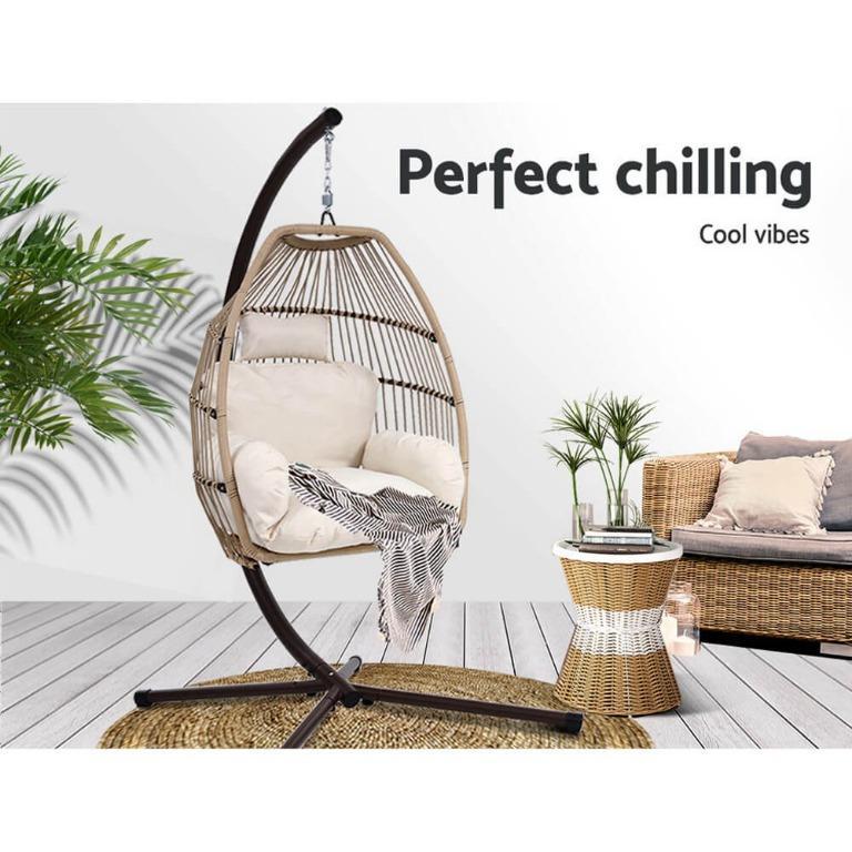 Gardeon Outdoor Furniture Egg Hanging Swing Chair Stand Wicker Rattan Hammock