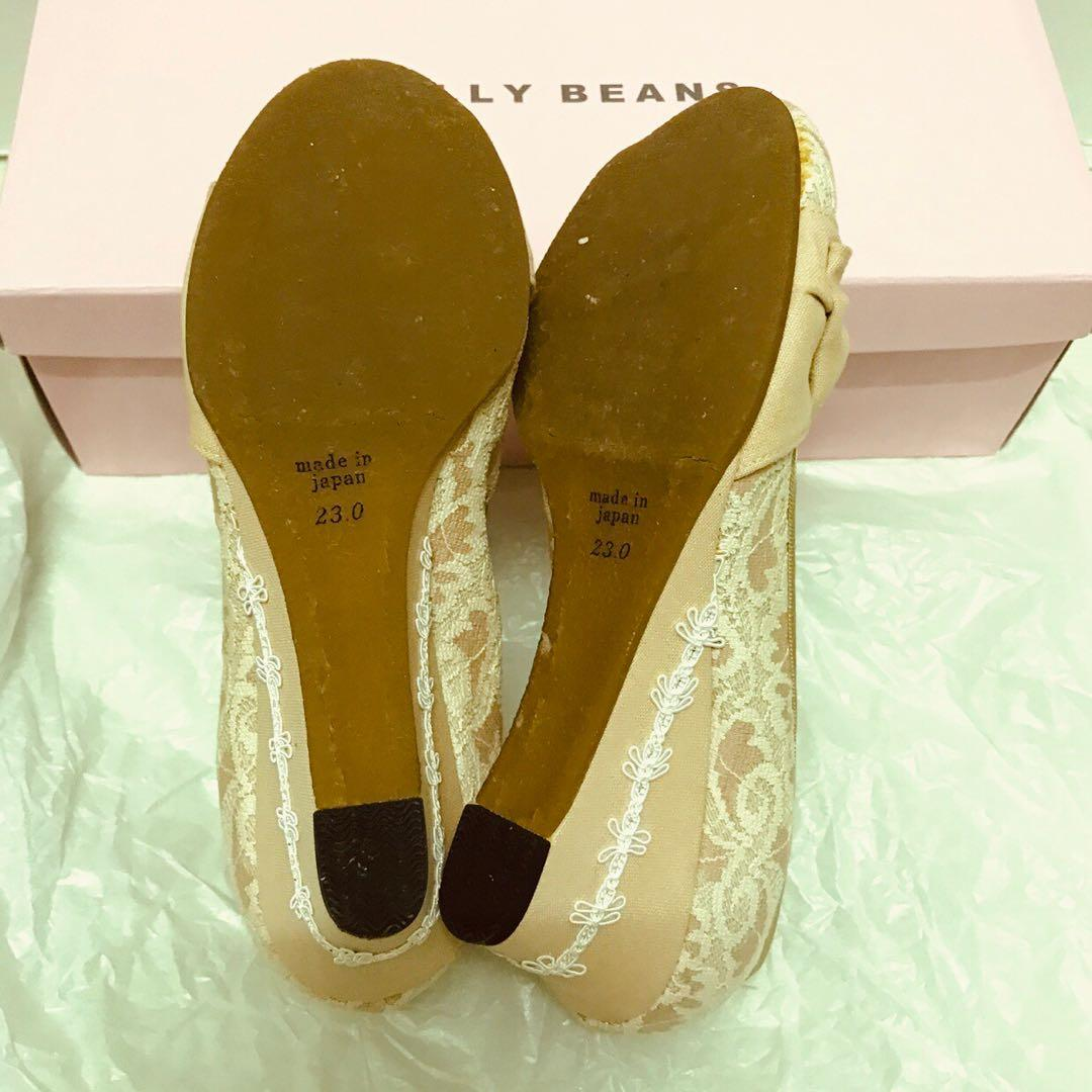 正品日本製 jelly beans 女裝圓頭高跟鞋高踭鞋 粉紅色米色蝴蝶結搭 lace 超 detail + 白色花邊 Jelly beans ladies lace high heel shoes platform pink and white beige ribbon, very elegant pumps