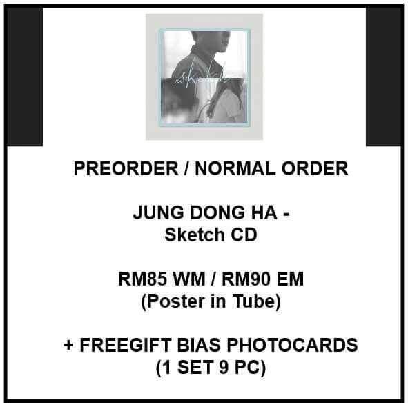 JUNG DONG HA - Sketch CD - ALBUM PREORDER/NORMAL ORDER/GROUP ORDER/GO + FREE GIFT BIAS PHOTOCARDS (1 ALBUM GET 1 SET PC, 1 SET GET 9 PC)