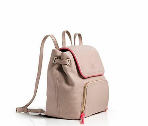 KATE SPADE Beige & Neon Pink Leather COBBLE HILL CHARLEY Backpack Bag