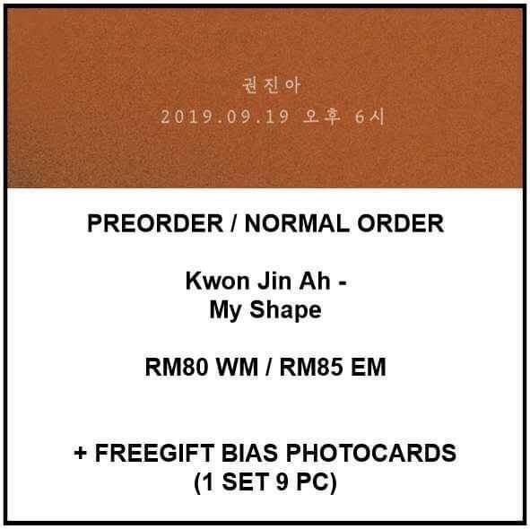 Kwon Jin Ah - My Shape - PREORDER/NORMAL ORDER/GROUP ORDER/GO + FREE GIFT BIAS PHOTOCARDS (1 ALBUM GET 1 SET PC, 1 SET GET 9 PC)