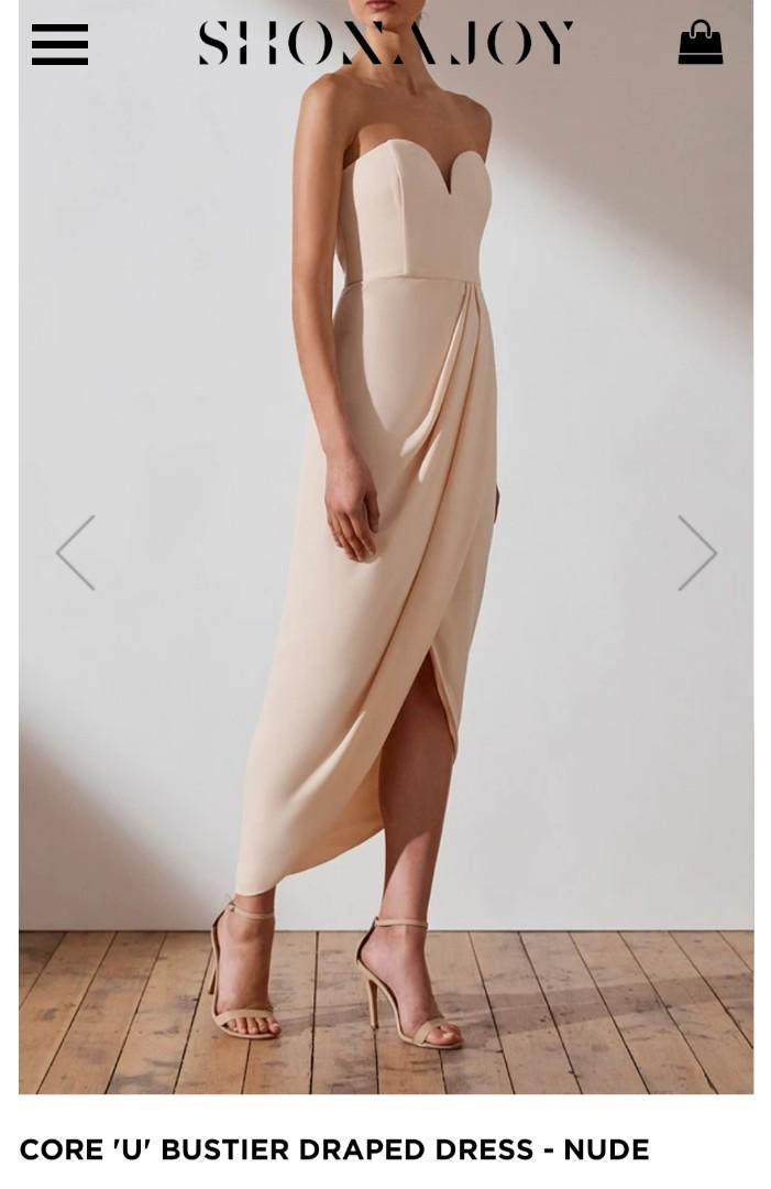 New with tags Shona Joy Bridesmaid Core U Bustier Strapless Dress - Nude Size 8