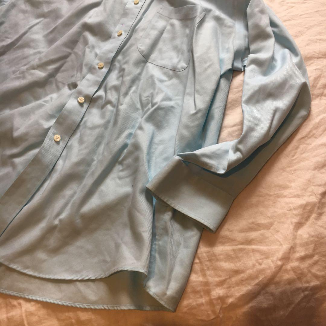 Pastel Blue Long Sleeved Button Down Formal Dress Shirt