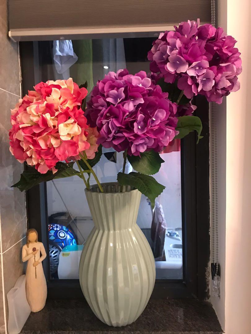 Plastic Flowers and Vas