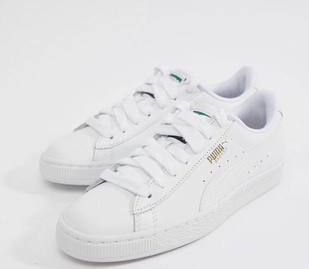 puma classic white trainers