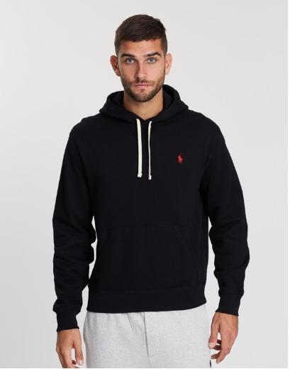 Ralph Lauren Long Sleeve Athletic Fleece Hoodie (Black, S)