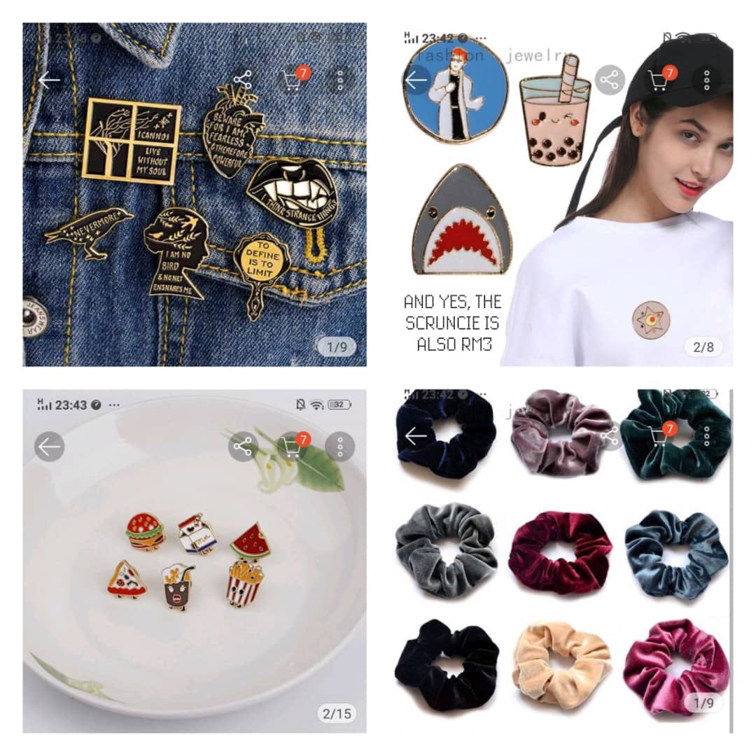 scrunchies and enamel badges