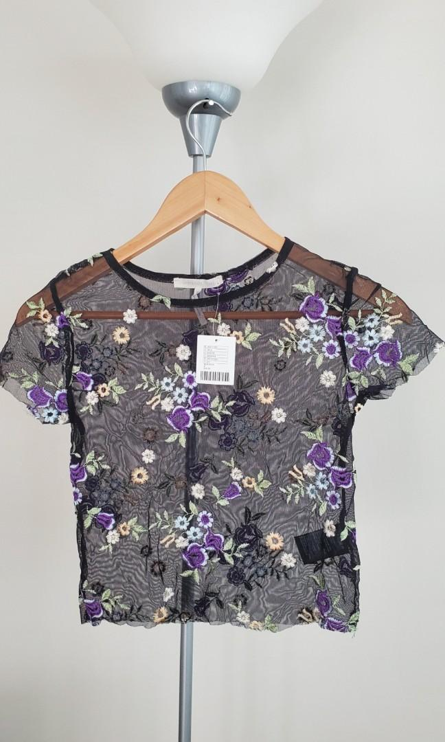 UO Kimchi Blue Lilac Embroidered Sheer Short Sleeve Tee
