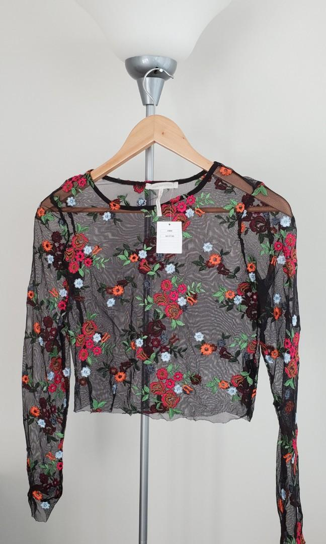 urban outfitters kimchi blue floral sherr long sleeve