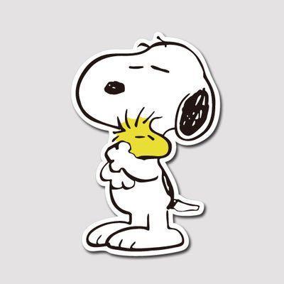 💖WATERPROOF💖 Snoopy Hugs Woodstock Luggage / Laptop Sticker #474