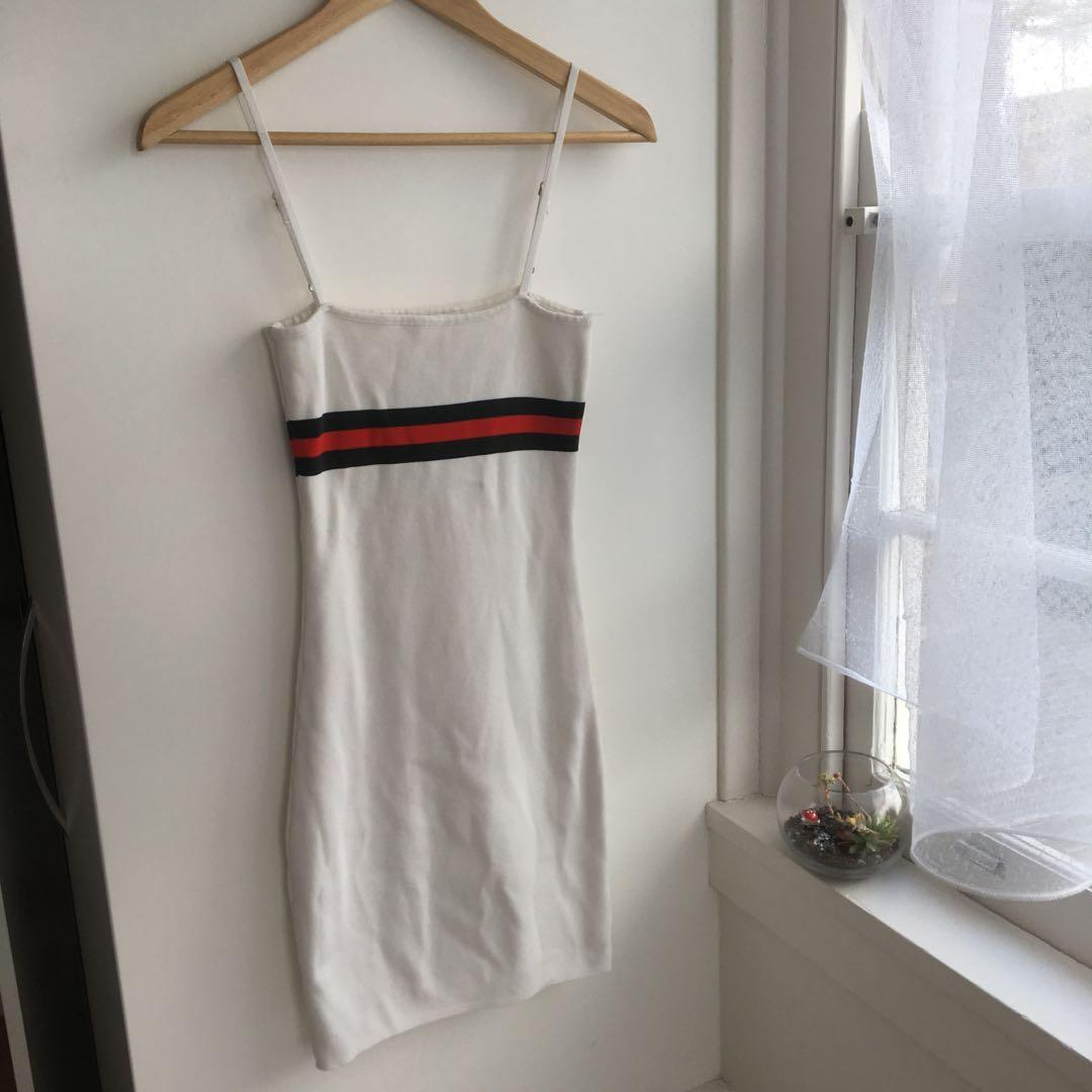 white bodycon mini dress with green and red stripe