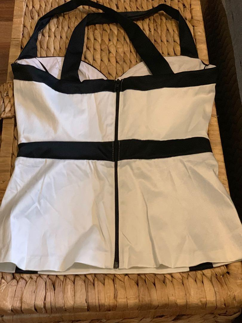 White Bustier Jane Norman Top with Black Trim and Crossover Strap