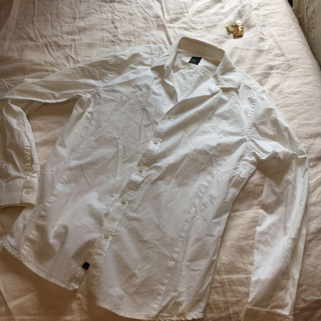 YD White Long Sleeved Button Down Formal Dress Shirt