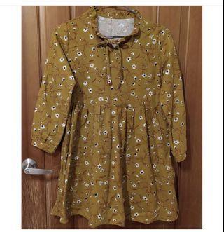 復古咖啡黃小碎花連身裙 全新 $150