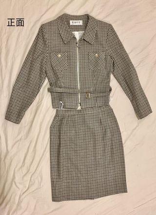 🇯🇵原創草堂🇯🇵百貨專櫃購買的經典蘇格蘭格紋外套窄裙套裝