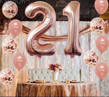 Rose gold Number balloon set
