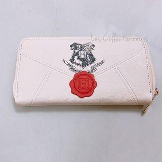 Harry Potter Long Wallet Hogwarts Acceptance Letter Women Zip Purse Zipped Around PU Leather Wallet White