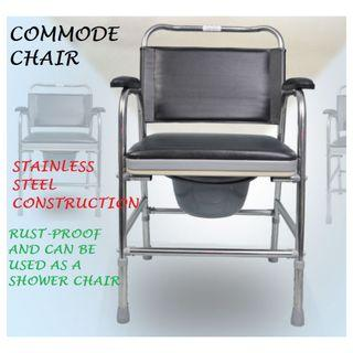 COMMODE CHAIR, STAINLESS STEEL, BRAND NEW AND FULLY ASSEMBLED