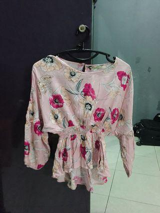Pink flower top (atasan)