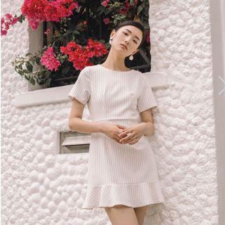 TSW MALIYA STRIPED RUFFLES HEM DRESS IN WHITE