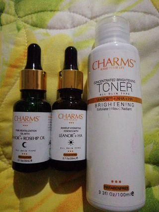Charms toner & night and day essence