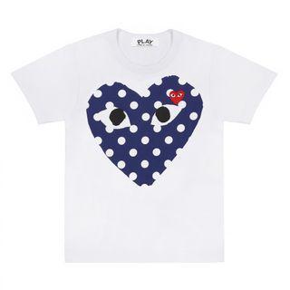CDG Play Blue Polka Dots Heart Tee