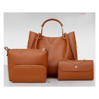 Instock 4 in 1 Ladies Leather Bag with 3 colors