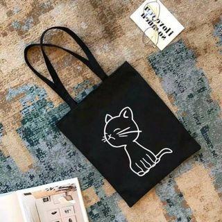 Totebag Murah Sling bag Kanvas Cat Kucing Lucu Imut Murah