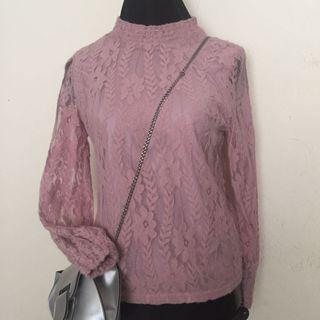 Pink lace tops