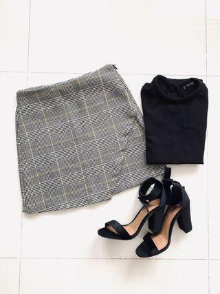 Mango skirt grey and yellow checkered houndstooth skirt
