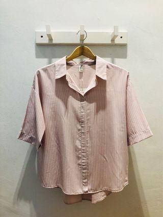 Casual Stripe Pink Blouse