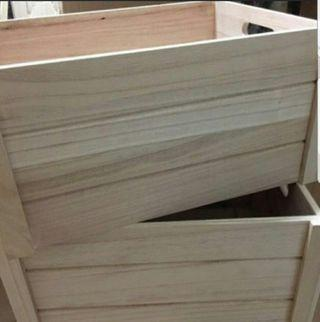 solid wood crate natural wood colour