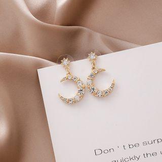 {朵朵韓飾} B3121 韓國直送(正韓)-925銀針 時尚甜美水鑽月亮耳環
