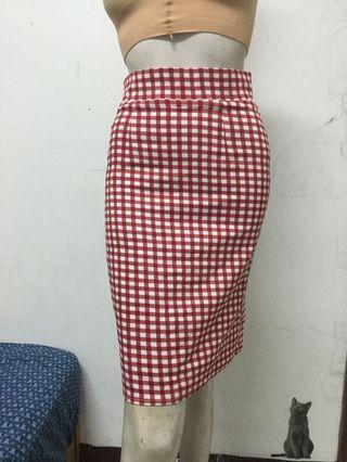PAZZO 紅白格子窄裙S號