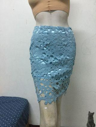 MEIER.Q 藍色鏤空蕾絲窄裙S號
