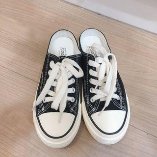 [二手近新]黑色帆布半拖鞋 懶人鞋