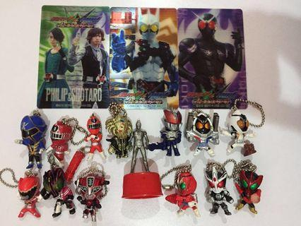 Masked Kamen Rider Sentai Power Ranger Gashapon Keychain Figure Card Bundle Lot