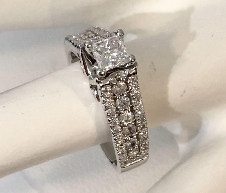14k white gold custom crafted princess cut diamond engagement ring *Appraised at $4,050