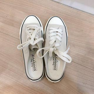 [全新僅試穿]灰白色帆布半拖鞋 懶人鞋