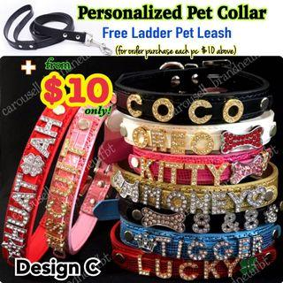 Pet collar custom dog cat rabbit leather collar leash